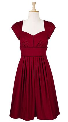 Pleated frill trim poplin dress  $49.95  Color: Crimson