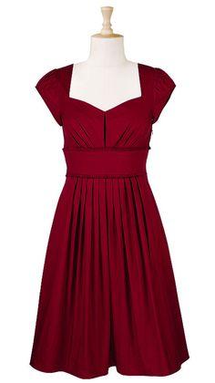 Pleated frill trim poplin dress  $49.95  Color: Crimson