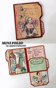 """Looking for a quick project? Here's a YouTube tutorial for a MINI FOLIO created by papercrafter45. It's easy to make … just grab some cardstock, a 6"""" x 6"""" paper pad & your Envelope Punch Board! Folio pictured is matted with the beautiful """"Whimsy & Botany"""" printables from Ephemera's Vintage Garden."""