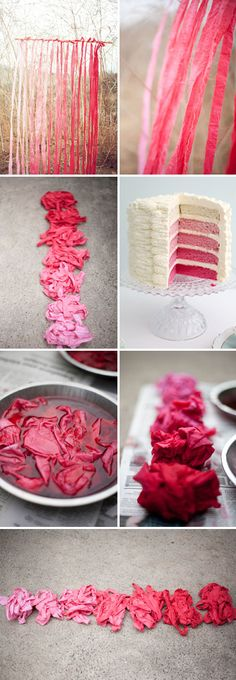 Ombre cake and decorations