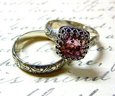Vintage Engagement Sterling Silver Swarovski Crystal Pink Light Rose Ring with matching Floral Band with Tiara Crown like bezel $135