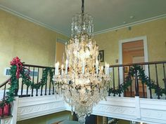 Decked out for the holidays at Macculloch Hall Morristown with chandelier from the former Twombly-Vanderbilt estate now part of FDU Florham Fairleigh Dickinson University's Florham Park campus. Regular opening hours: Sun. Weds. Thurs. 1-4 and by appt. Gardens free and open daily 9-5. For more information visit: Macculloch Hall.org. Less than an hour's drive from where the ball fell and rang in the new year. #Morristown #TimesSquare #GardenState #NJ #NewJersey #HappyNewYear