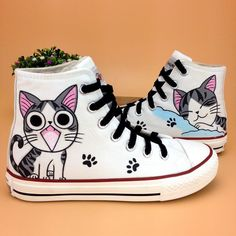 Women Hand-Painted Cute Cat Canvas Shoes Sweet Lace Up Comfy Flats Us5-10.5