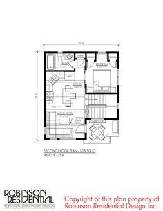 Contemporary Ashley-754 - Robinson Plans 1 Bedroom House Plans, Garage Apartment Floor Plans, Garage Loft, Garage House, Small House Floor Plans, Family House Plans, Double Sliding Barn Doors, Mechanical Room, Loft Interior Design