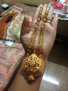 Long Lakshmi pendent from grt jewellers..Bangalore... Weighing 73 grams Gold Necklace, Gold Pendant Necklace