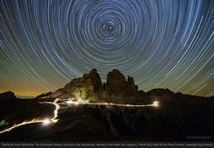 The rugged peaks of the Tre Cime di Lavaredo in the Italian Alps are famous among mountain climbers and landscape photographers, but few have attempted to capture their nighttime beauty. German astrophotographer Cristoph Otawa won second place in the Beauty of the Night Sky category with this 3-hour-long circumpolar startrail image. It shows a natural combination of stars and night-time landscape.