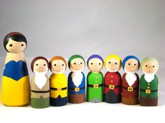 Wooden Snow White and Seven Dwarf Peg Dolls