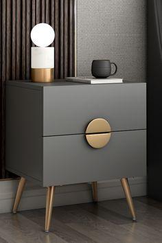 Bedside Table Design, Modern Bedside Table, Side Tables Bedroom, Side Table For Bed, Master Bedroom Interior, Home Room Design, Home Office, Furniture Design, Home Decor