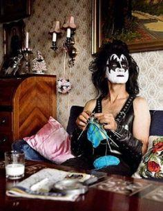 Gene Simmons (KISS) knitting