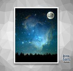 Night Sky Print Moon and Sky Starry Sky by LexieGreerPrintables