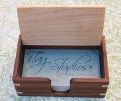 Custom wood business card box solid hardwoods business cards wood business card box custom crafted of maple and walnut this business card reheart Gallery