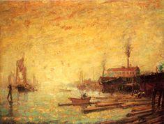Harbor at Sunset, Moank, Connecticut, 1907 - Willard Leroy Metcalf (American, 1858-1925)