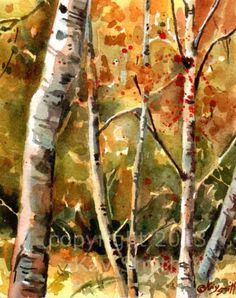 Fall+Birches,+painting+by+artist+Kay+Smith