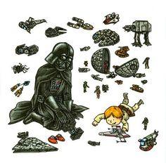 Darth Vader and Son by Jeffrey Brown - Playtime Star Wars Comics, Star Wars Cartoon, Star Wars Humor, Darth Vader And Son, Cuadros Star Wars, Star Wars Day, Star Trek, Love Stars, Love Movie