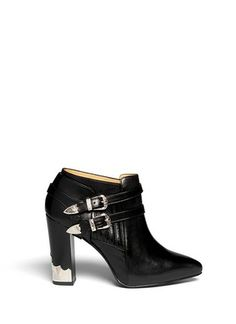 TOGA - Detachable harness cowboy booties | Black Bootie Boots | Womenswear | Lane Crawford