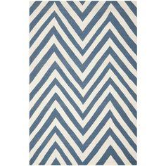 Hand-woven Chevron Dhurrie Blue Wool Rug (8' x 10')   Overstock.com