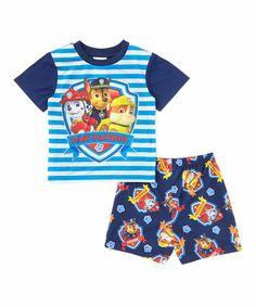 Another great find on #zulily! Blue Stripe PAW Patrol Pajama Set - Toddler by PAW Patrol #zulilyfinds