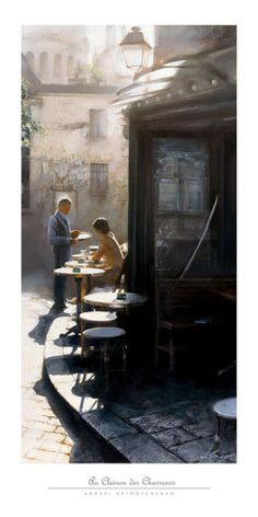 Au Clairon des Chasseurs Andrei Krioutchenko Print Landscape Paris Cafes Poster - Has lived and worked in France since Framed Art Prints, Fine Art Prints, Cafe Posters, Dining Room Art, Cafe Art, B 13, Paris Cafe, Art Themes, Painting & Drawing