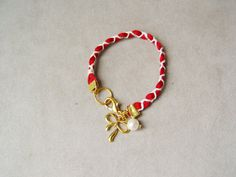 Red white bracelet woven cords fabric bracelet red by ArktosArt
