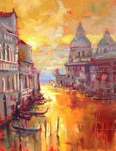 """Venice Nights"" Fine Art Limited Edition Painting by Steven Quartly Light Painting, Painting & Drawing, Venice Painting, Impressionist, Contemporary Paintings, Abstract Landscape, American Artists, Amazing Art, Fine Art"