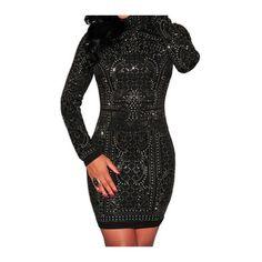 Zipper Closure High Neck Mini Dress featuring polyvore, women's fashion, clothing, dresses, black, longsleeve dress, long sleeve short dress, short mini dresses, short dresses and sheath dress