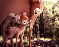 *BAMBI & HIS MOTHER ~ Bambi,1942 ... A Mother's Love
