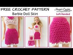 Doll Skirt Free Crochet Pattern - Left Handed - Maggie's Crochet YouTube
