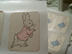 Peter Rabbit Vintage Style Bunny Stickers Seals..Beatrix Potter...Set of 12 Pink...ESC on Etsy, $8.95