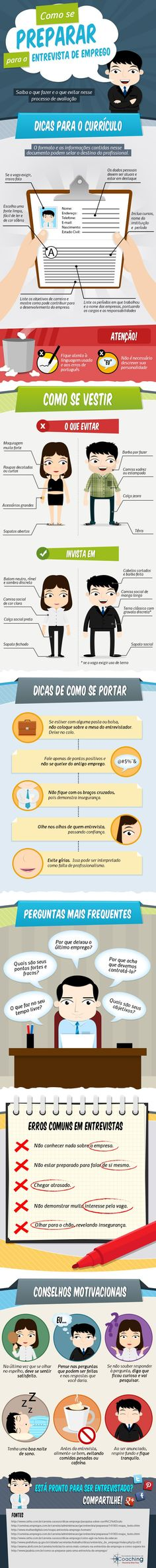 Infografico entrevista emprego Experiment, Keep Calm And Relax, Job Interview Tips, Always Learning, Student Life, Management Tips, Human Resources, Study Tips, Career Advice