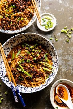 Better Than Takeout Dan Dan Noodles. For those nights when youre craving spicy warming Chinese inspired noodles but dont want to wait for take out! Asian Recipes, Healthy Recipes, Ethnic Recipes, Easy Chinese Recipes, Healthy Food, Half Baked Harvest, Comfort Food, Noodle Recipes, The Best