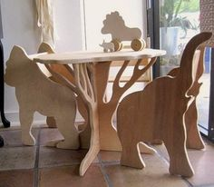 The Best DIY and Decor Place For You: Handmade children's wooden animal chairs and table
