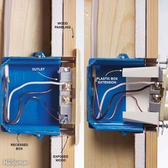 Mistake: Exposed combustible material Electrical boxes must be flush to the wall surface if the wall surface is a combustible material. Boxes recessed behind combustible materials like wood present a fire hazard because the wood is left exposed to potential heat and sparks. Solution: Add a box extension The fix is simply to install a metal or plastic box extension. If you use a metal box extension on a plastic box, connect the metal extension to the ground wire in the box using a grounding…