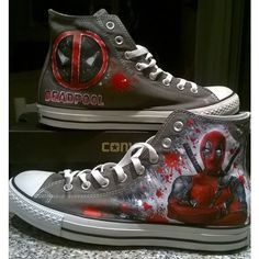 Deadpool custom hand painted shoes Deadpool Converse hand painted... (185 AUD) ❤ liked on Polyvore featuring shoes, canvas footwear, canvas shoes, converse shoes and converse footwear