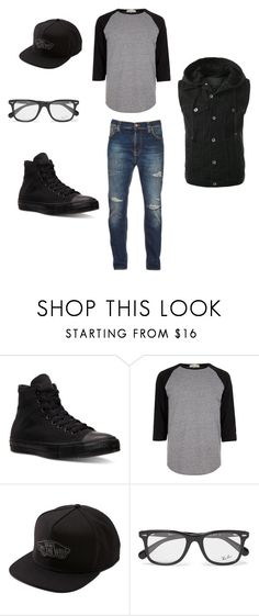 """JoeyStage"" by misshathor on Polyvore featuring Converse, River Island, Vans, Ray-Ban, Nudie Jeans Co., men's fashion and menswear"