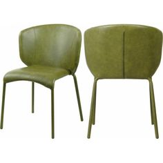 Olive Green Faux Leather Modern Contemporary Dining Chair Set of 2 Ottoman Stool, Chair Bench, Dining Chair Set, Green Furniture, Dining Furniture, Contemporary Dining Chairs, Contemporary Design, Rustic Industrial, Mid Century