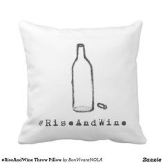 #RiseAndWine Throw Pillow at BonVivantNOLA Shop.