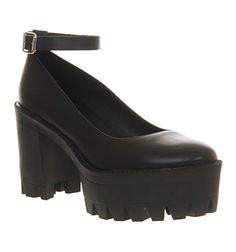 Office Destroyer Cleated Ankle Strap Shoe Black Leather - Mid Heels. Yay, 90s shoes are back!