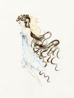 Fairy Art Pencil Drawing Illustration Giclee Print Of My Original Hand Drawn Sketch