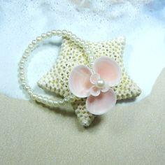 Seashell  Pearl Wrist Corsage Bracelet  Petite Pink Seaflower by ShellScapes