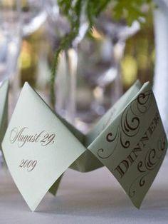 Interactive wedding menu idea