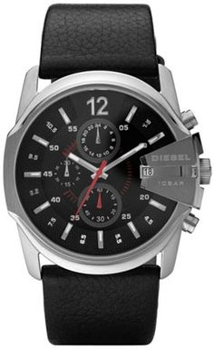 738c4f82eae Diesel Mens Black Chronograph Round Dial Watch With Black Leather Strap