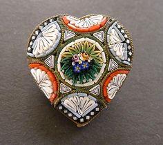 Micro Mosaic Heart Brooch
