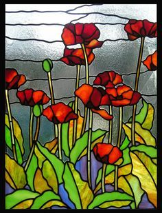 Poppies Stained Glass Panel by TheGlassPeacock on Etsy, $300.00