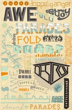 Whole poster of different hand drawn typography #hand drawn #typography #design #illustration