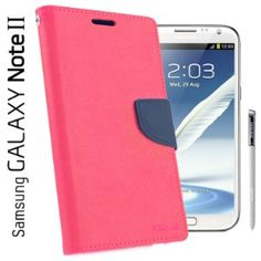 Amazon.com: Mercury Fancy Diary Leather Case for Samsung Galaxy Note 2 (Hot Pink / Blue): Cell Phones & Accessories