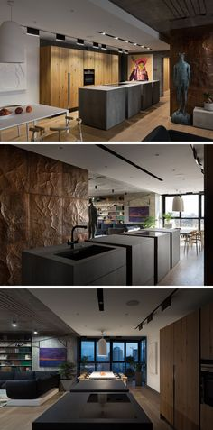 In this modern kitchen, the focal point is the island with separated sections. Behind the island is a wall of wood cabinetry, and on the opposite wall is the continuation of the copper wall from living room. Minimalist track lighting allows for the island and another statement art piece to stand out in the kitchen.