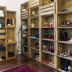pallet storage for a walk in closet.