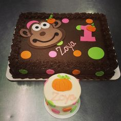 "Monkey themed birthday cake, with a matching 3"" smash cake for a 1st birthday! Made by 3 Women and an Oven.  http://3womendesserts.com/"