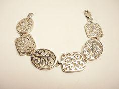 Vintage Sterling Floral Tiles Bracelet  Oval & Squares Bracelet by GranvilleGallery