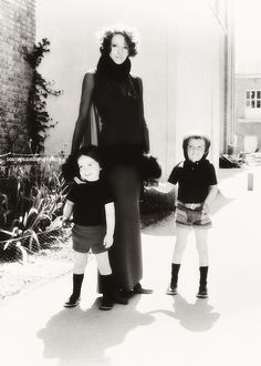 Maggie Smith with her sons, Chris and Toby.